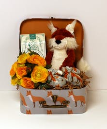 This adorable keepsake set is perfect gift for the bundle of joy and parents.  This gift includes soft fox booties, biscotti, and a silk bouquet nestled with a plush Jellycat fox in a matching keepsake fox suitcase.