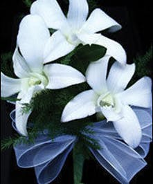 Three Dendrobium Orchid Rhinestone Wristlet