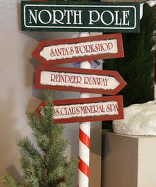 Santa's helpers will love the directional sign of where to go in the North Pole.