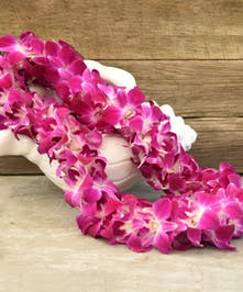 Orchid lei to wear on your special day!