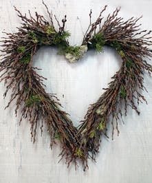 Willow Heart Wreath - Bay Area Delivery by Ah Sam Florist