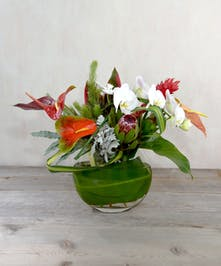A tropical delight of exotic flowers.