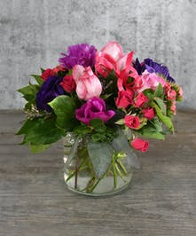 A sweet love note in shades of pink and a touch of lavender purple.
