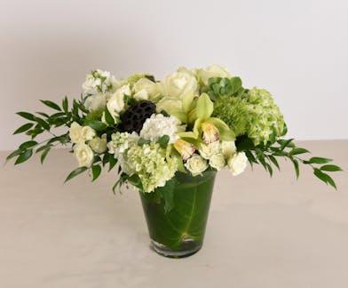 White Roses & Succulent Arrangement