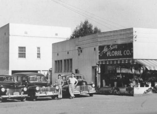 An exterior view of our second storefront, circa 1950